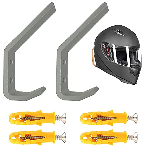 Pmsanzay 2/PK Helmet Holder Hook, Sturdy Helmet Display Rack, Wall Mounted Helmet Storage Rack Hanger, for Motorbike Jacket Wall Display Rack, Stainless Steel- Hardware Included Easy to Install.