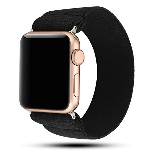YOSWAN Stretchy Loop Strap Compatible for Apple Watch Band 40mm 38mm iWatch Series 6/5/4/3/2/1 Stretch Elastics Wristbelt (Black, 38mm/40mm)