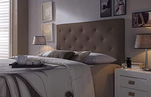Cabezal tapizado Rombo 160X60 Chocolate, Acolchado con Espuma, 8 cm de Grosor, Incluye herrajes para Colgar