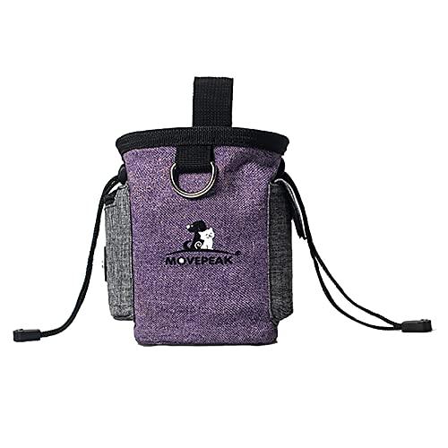 N+V Bolsa Comida Perros, Multifuncional Mochila Entrenamiento con Tazón Plegable y Ajustable Cinturón, Cintura Bolsa para Almacenamiento Comida Cachorros-Purple ||L