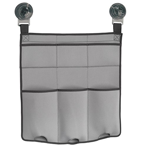 Price comparison product image iDesign Turn-N-Lock Suction Fabric Shower Caddy for Shampoo / Conditioner / Soap,  Light Grey / Charcoal