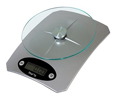 TKG Digitale keukenweegschaal, glas, zilverkleurig