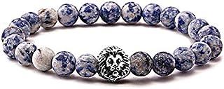 Stone Beads with Lion Unisex Charm Bracelet