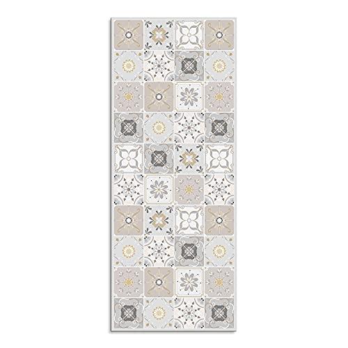 Alfombra Vinílica para Cocina, 200 x 80 cm, Diseño de Baldosas, Color Beige, ALV-103
