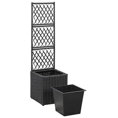 Festnight Jardinera con Enrejado | Jardinera Rectangular | Color Negro, de Ratán | 30 cm x W 30 cm...