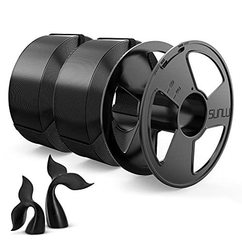 Filamento PETG 1.75mm, SUNLU PETG Filamento Impresora 3D, Reutilizable Spool, MasterSpool, Filamento Refill es Fácil de Reemplazar, PETG 2KG, 1kg Spool, 2 Paquete, Negro+Negro