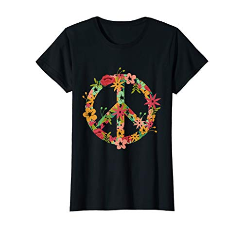 HIPPIE KOSTÜM BLÜMCHEN PEACE ZEICHEN DAMEN UND KINDER T-Shirt
