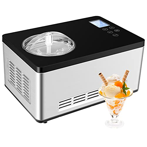COSTWAY Ice Cream Maker, 2.1-Quart Automatic Countertop Ice Cream Machine with LCD Digital Display, Built-in Compressor, Timer Control, Stainless Steel Mixing Bowl, Electric Fruit Yogurt Machine