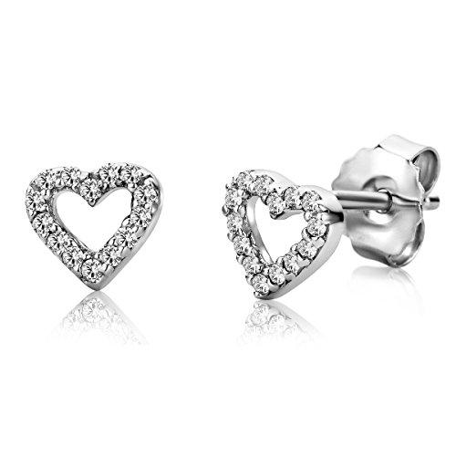 Miore - Orecchini da donna in argento Sterling 925 a forma di cuore, con zirconi taglio brillante