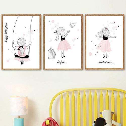 bdrsjdsb Kleines Mädchen Vogel Brief Leinwand Malerei Wandbild Poster Hintergrund Kinderzimmer Dekor 2# 30 * 40 cm
