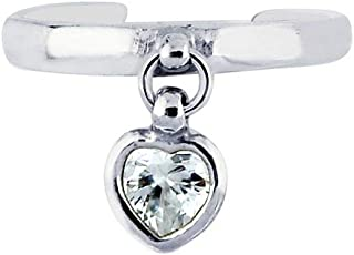 Sterling Silver With Rhodium Finish Shiny Cuff Type Toe Ring With Small Drop Heart With W Hite CZ