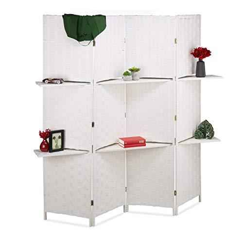 Relaxdays Paravent 4-teilig, Faltbarer Raumtrenner, Sichtschutz, 2 Ablagen, Papierseil, HxBxT 180 x 170 x 39 cm, weiß, 1 Stück