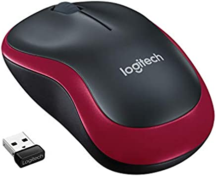 Logitech M185 schnurlos Maus (USB, kompatible mit Windows, Mac, Linux) red