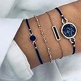 Edary Lot de 4 bracelets boho en perles et pierres précieuses noires,...