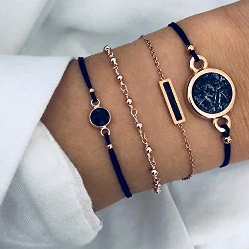 Edary Armband Set schwarze Kristalle goldfarbene Perlen Armbänder schwarze Edelsteine Handschmuck Stab handgefertigt für Damen und Mädchen (4 Stück)
