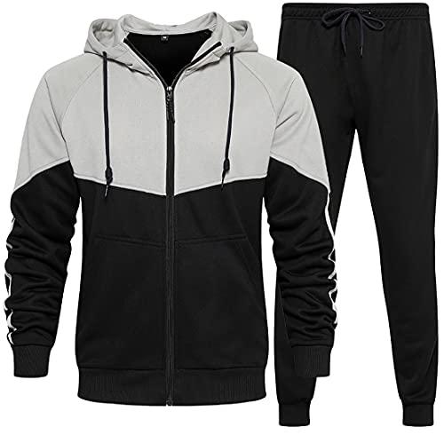WINKEEY Herren Sportanzug Trainingsanzug Hausanzug Hoodie+Sporthose Jogginganzug Kapuzenpullover+Jogginghose, Schwarz L