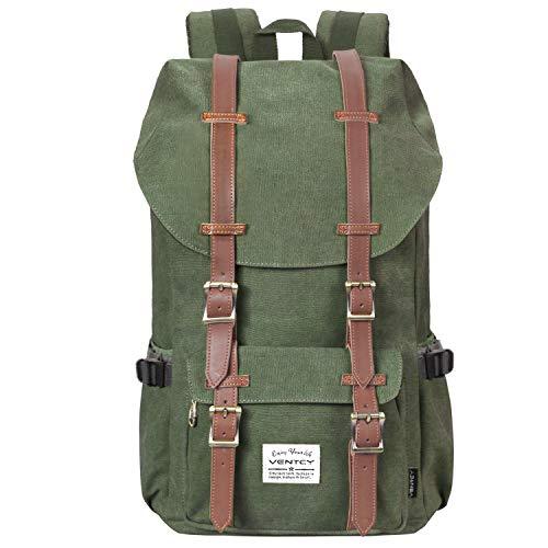 Vintage Rucksack, VENTCY Canvas Rucksack Damen Herren Vintage Backpack Segeltuch Retro Studenten Rucksack Laptop Wasserabweisend Dayback für Freizeit Outdoor Reise