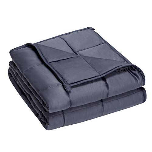 COSTWAY Gewichtsdecke aus Bambusfaser und Baumwolle, Schwere Decke Anti Stress, Beschwerte Decke Grau, Gewichtete Decke, Weighted Blanket für Erwachsene und Kinder (152x203cm, 6.85)
