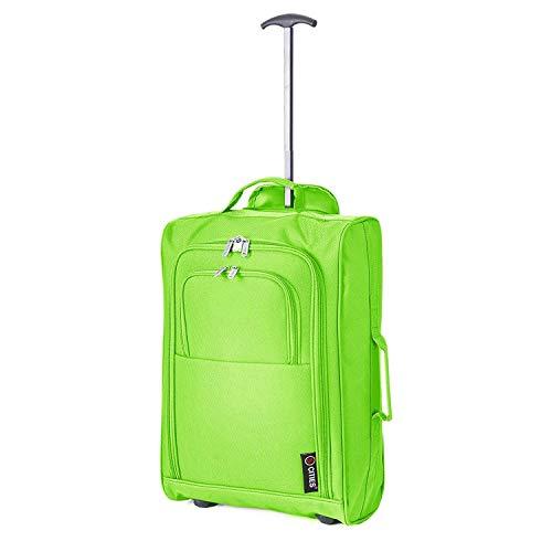 5 Cities Leichter Handgepäck Rollkoffer Gepäck Reisetasche Bordgepäck mit Rädern für Easyjet, Ryanair, BA und Mehr 55x35x20cm 42L (Grün)