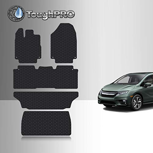 TOUGHPRO Floor Mat Accessories 1st + 2nd + 3rd Row + Cargo Mat Accessories Compatible with Honda Odyssey - All Weather - Heavy Duty - (Made in USA) - Black Rubber - 2018, 2019, 2020, 2021, 2022