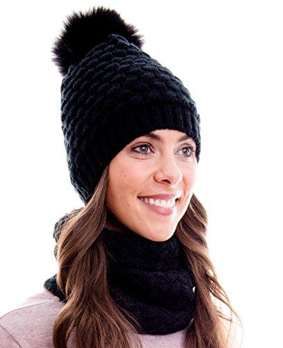 Hilltop Winter Kombi Set, bestehend aus Damen Schal und passender Strick-Mütze. Bommelmütze mit Pompon. Aktuelle Farben und Designs, Winter Set:2A-schwarz