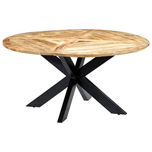 vidaXL Mangoholz Massiv Esstisch Esszimmertisch Küchentisch Holztisch Massivholztisch Speisentisch Tisch Esszimmer Küche Rund 150x76cm