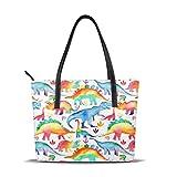 Damen-Handtasche mit Regenbogen, Aquarellfarben, Dinosaurier, bedruckte Schultertasche