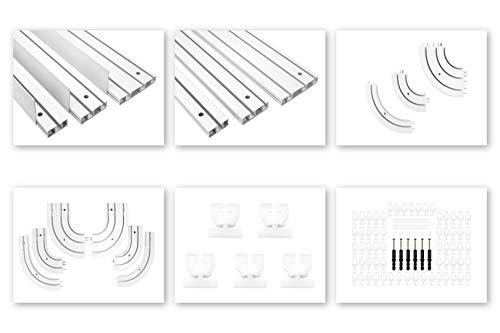 HEXIM Vorhangschienen & Zubehör aus PVC - Auswahl von 1, 2 & 3-läufigen Schienen, Rundbögen, Montagezubehör sowie Blenden - OM Modellreihe (1-läufige Gardinenschiene, 2 Meter)