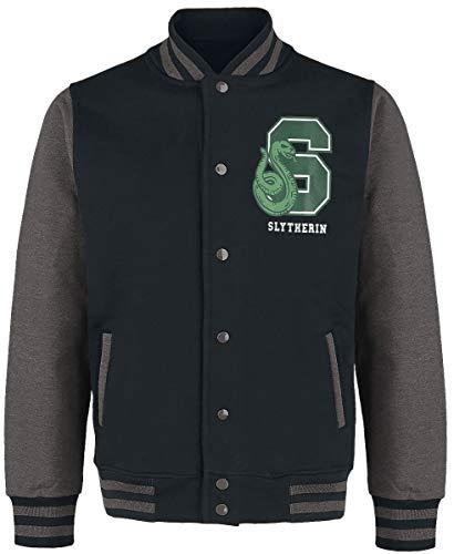 HARRY POTTER Slytherin - Quidditch Hombre Chaqueta Universitaria jaspeado negro/gris L, 100% algodón,