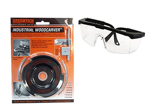 Arbortech Industrial Woodcarver inkl. Schutzbrille - Frässcheibe für Holz / Holz Frässcheibe Winkelschleifer