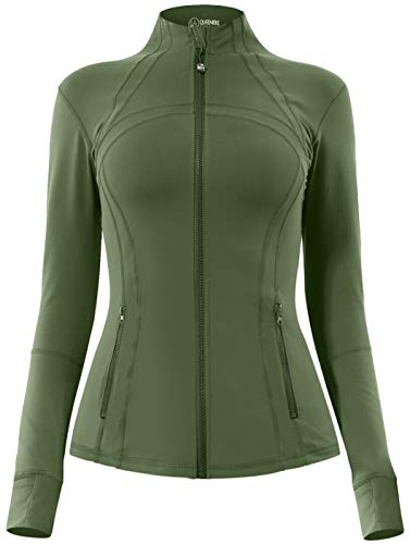 QUEENIEKE Women's Sports Define Jacket Slim Fit and Cottony-Soft Handfeel Size S Color Army Green