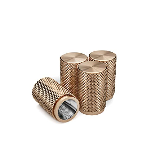 Divoti Precision CNC Machined Stainless Steel Tire Air Valve Caps, Wheel Tyre Stem Covers for Cars - Heavy-Duty, Airtight Seal, Textured Design, Screw-On, Dust-Proof - 2 Pairs - Rose Gold