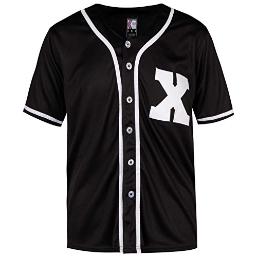 MOLPE X Mark Baseball Jersey S-XXXL Black, 90S Hip Hop Clothing for Party, Stitched Logo (S)