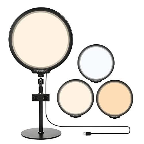 Luckits Anillo de luz de pantalla completa con soporte y soporte para teléfono Circle Selfie Video Zoom Light Gran iluminación LED para videoconferencia, Luz de belleza de escritorio regulable 3 modos