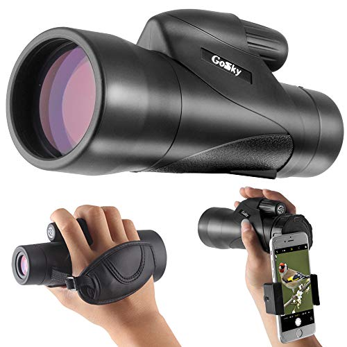 Gosky 12x50ED High Definition Monocular and Quick Smartphone Holder - Newest Waterproof Telescope-BAK4 Prism for Bird Watching Camping Traveling