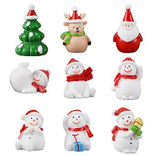 Atrumly Hristmas Style Kit de adornos en miniatura, 9 piezas de Navidad Papá Noel árbol de Navidad muñeco de nieve reno Mini decoración de mesa de resina decoración en miniatura regalos