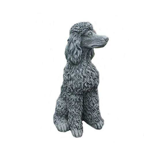 Steinfigur Hund Pudel Gartenfigur Steinguss Frostfest W