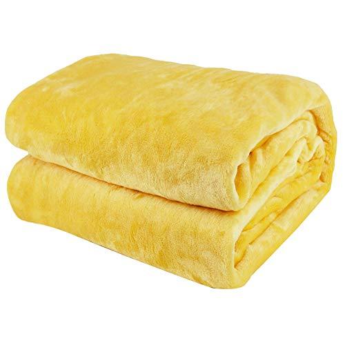 Arkham, coperta in flanella di pile, colore giallo, per la casa, soffice coperta calda per divano e animali domestici, coperta in pile di flanella gialla, 150 x 200 cm
