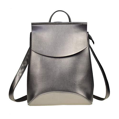 Angle-w Diseño elegante, viaje simple, mochila de moda para mujer, mochila de cuero para niñas, mochila de hombro femenina, bolsa de hombro Let us go more (color: plata, tamaño: 33 x 26 x 12 cm)