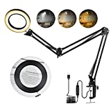 Magnifying Desk Lamp, Toolour Magnifier Hobby Lamp with Clamp, 3 Adjustable Gooseneck Arms 3 Colors Dimmable 4.13' Diameter Glass LED Table Light with Stand for Crafting, Reading, Handwork, Repairing