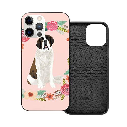 Funda protectora compatible con iPhone 12 / iPhone 12 Pro Saint Bernard Floral Corona Perro Raza Animal Retrato de Mascota Pure Raza Perro Amantes Teléfono Casos de Silicona Suave TPU