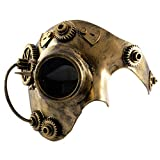 Phantom STEAMPUNK Mens Masquerade Mask | Half Face Mechanical Copper Mask | Venetian Mask | Fancy Dress PROM BALL | Great for Fancy Dress Ball / Masquerade Phantom of the Opera Masked Ball / Halloween