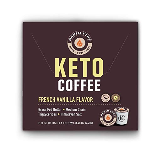 Rapid Fire French Vanilla Ketogenic High Performance Keto Coffee Pods, Supports Energy & Metabolism, Weight Loss, Ketogenic Diet 16 Single Serve K Cup Pods
