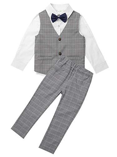 TiaoBug Kinder Anzug Junge Ouffits Smoking Gentleman Kleidung Set Festliche Anzug & Sakko Hochzeit Baumwolle Weiß B 110-116