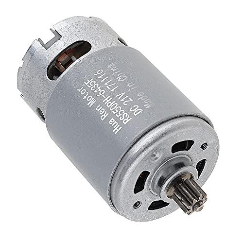 LITOSM Motor DC Portátil 2 1V 19500 RPM DC Motor con una Sola Velocidad 9 Dientes y Caja de Engranajes de Alto Torque para Taladro eléctrico