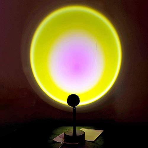 Lumière LED de Projection du Coucher du Soleil,Lampe de Projection Arc-en-Ciel à Rotation de 180 Degrés,Lampe D'Éclairage D'Ambiance Visuelle Romantique,Veilleuse sur Pied Moderne USB