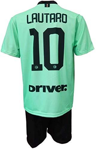 Completo LAUTARO Martinez Inter Ufficiale Away Verde 2021-20 Bambino Uomo Adulto Maglia SECONDA + Pantaloncini Pantaloncino Completino 10 Away (10 Anni)