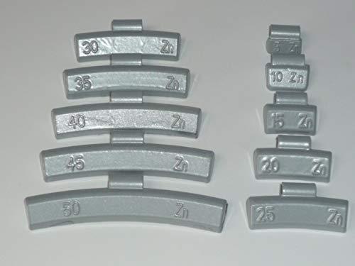 Lot de 25 poids d'équilibrage en zinc 20 g pour les aluréats revêtus de plastique, poids de croissance 985120-25
