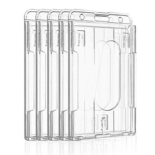 Uniclife Portatarjetas Vertical de 2 Tarjetas Protector de Tarjeta de Crédito de Plástico Transparente con Ranura para Pulgar, Paquete de 5