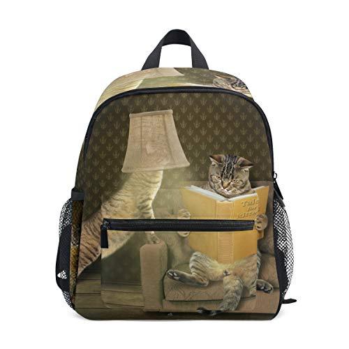 Mochila Mochila Lámpara de Mesa Gato de Lectura Mochila para niños y niñas Mochila Informal al Aire Libre Linda